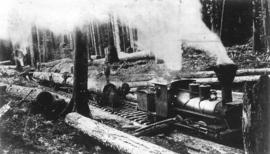 ['Old Curly' (former C.P.R. locomotive) at logging camp]