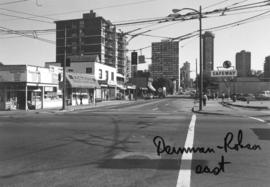 Denman and Robson [Streets looking] east