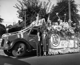 Children on CJSC float in 1947 P.N.E. Opening Day Parade