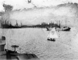 "[View of the ""Robert Kerr"" from the bow of a C.P.R. car barge to Ladysmith]"