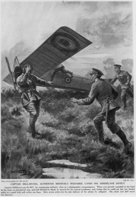Captain Bell-Irving, although seriously wounded lands his aeroplane safely