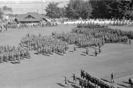 Military Review at Brockton Point Grandstand for Golden Jubilee celebration, looking north
