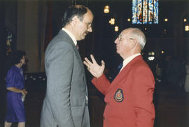 Mike Harcourt speaking to Salvation Army Band member