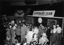 Crowd around Lapidary Club of Vancouver display in P.N.E. Hobby Show