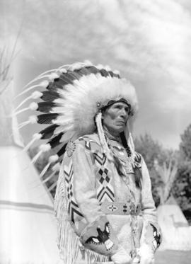 [Portrait of Stoney Chief Jonas Rider at Calgary Stampede]