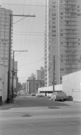 Alley between Comox Street and Pendrell Street, looking west towards cul-de-sac at Stanley Park f...