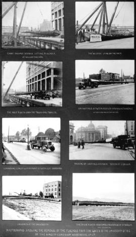 [Composite showing transfer of large flagpole from Ballantyne Pier to U.B.C. by Anglo-Canadian Wa...