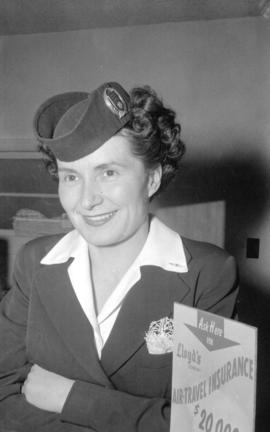 [Head and shoulders portrait of Miss. Alyse Francis, traffic clerk for Canadian Pacific Airlines]