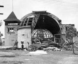 [Demolition of the first Exhibition building at Hastings Park]