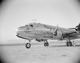 "[Australian National Airways plane, the ""Warana"" at Vancouver Airport during its first ..."