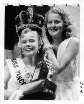 Winner of Miss Vancouver 1956 receiving crown from the previous year's winner