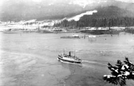 [View of steamship entering the narrows]