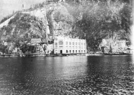 [View of the second Lake Buntzen power station from the water]