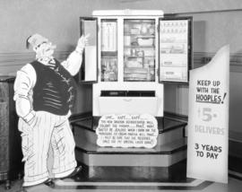 [Advertising display of a Spartan refrigerator in the] Radio Room of Canadian Fairbanks Morse Com...