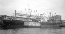 M.S. Ludwigshafen [at dock, with barge alongside]