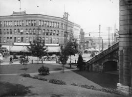 [Hastings and Cambie Streets, showing front steps and lawn of Court House]