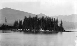 [View looking north from Coal Harbour showing Deadman's Island in foreground, and North Shor...