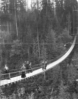 [Group of men and women on the Capilano Suspension Bridge]