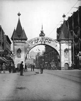 German, Swiss, and Austrian Societies' arch [on Granville Street for the] visit of the Duke ...