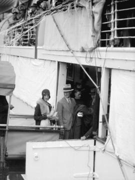 [Long distance aviator Charles Kingsford-Smith with his wife departing from Vancouver by sea on M...