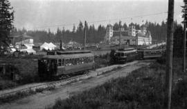 [First Vancouver Exhibition opening at Hastings Park with Powell Street streetcars arriving]