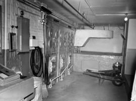 Interior of Fairview High School of Commerce, furnace room
