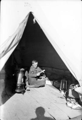 [James Crookall] in tent, Leaside