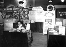 "[Travel promotion display including advertising for Alaska cruises aboard S.S. ""Chilcotin&qu..."