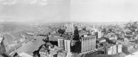 Vancouver looking east from Marine Building, Burrard and Hastings Streets, 1936, panorama of thre...