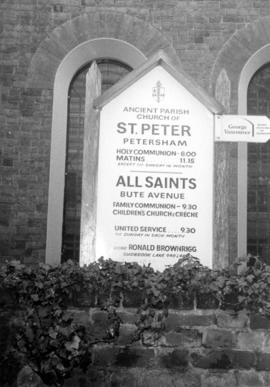 Parish church of St. Peter's, Petersham, Surrey, England sign showing direction to grave of ...