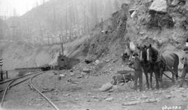 [Men standing with horses near C.P.R. steam shovel and flatbed cars in Selkirk mountains]