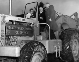 P.N.E. President J.S.C. Moffitt and Lt. Gov. C. Wallace at sod-turning ceremony for B.C. building