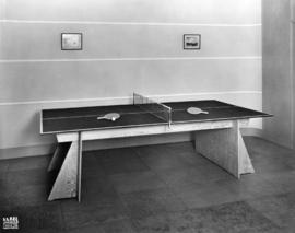 Table tennis table, likely part of B.C. Plywood Co. display