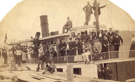[Steamboat delivers picnicers from St. Andrew's Presbyterian Church to dock at Gibson's...