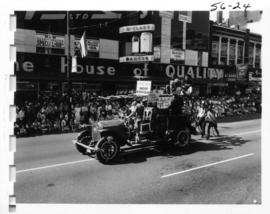 District of North Vancouver Firefighters entry in 1956 P.N.E. Opening Day Parade
