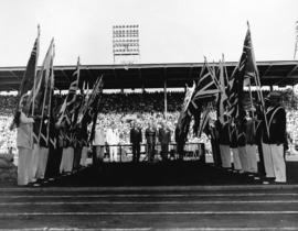 [Speakers at the opening ceremonies for the British Empire and Commonwealth Games at Empire Stadium]