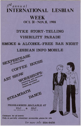 3rd annual international lesbian week : Oct. 31 - Nov. 2, 1988