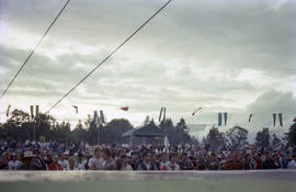 View of crowd from stage during Canada Day celebration