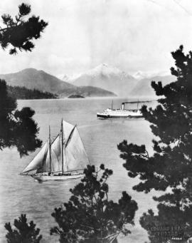 [View of Howe Sound from the Whytecliff Hotel]