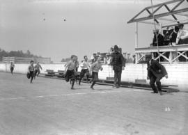 Police sports [finish of boys' foot race]