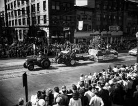 Ferguson Tractor and New Holland Baler float in 1952 P.N.E. Opening Day Parade