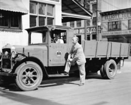 "Shell Oil Co. - Super Shell campaign [driver in cab of ""Crown Cartage"" truck; owner Joh..."