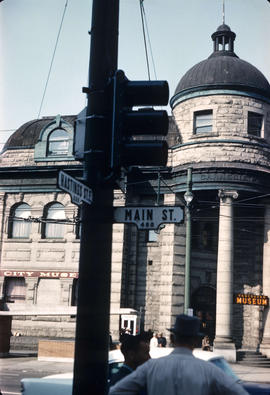 [The Vancouver Museum (Carnegie Centre) at the corner of Hastings Street and Main Street]