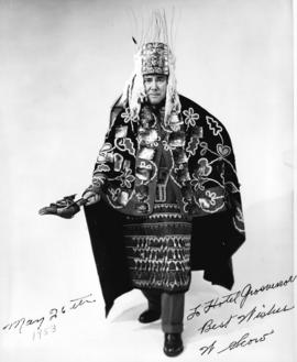 [Chief William Scow in the ceremonial regalia that he wore at the coronation of Queen Elizabeth II]