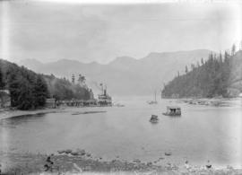 "[The ferry S.S. ""Bowena"" and other boats in Snug Cove, Bowen Island]"