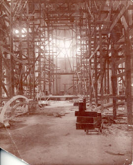 [Interior of Holy Rosary Cathedral under construction]