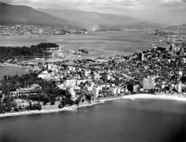 [Aerial view of] English Bay Beach [the West End and Coal Harbour]