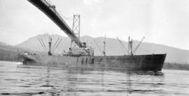 S.S. Jean Ribaut [passing under Lions Gate Bridge]