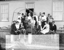 [Men, women and children assembled outside Jeremiah Rogers residence in Jericho area]