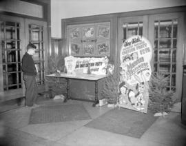 [Christmas cartoon party display at the entrance to the Stanley Theatre]